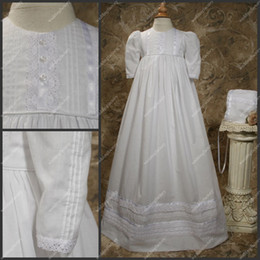 Wholesale Long Sleeve Babies First Communion Dresses Floor Length Taffeta Ruffled A Line Christening Gowns