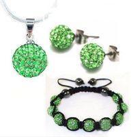 Wholesale Retail mm CZ crystal disco ball bracelet necklace earrings Shambhala jewelry sets