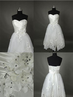 Wholesale Pageant Lace Short Wedding dresses Bridal Gowns Tea Length Corset Beading Flowers Applique Hot Cheap