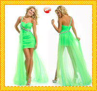 Wholesale Hot Sale New Lime Green One shoulder Hi Lo Organza Sheath Pleated Crystal Cheap High Low Prom Dress Evening Formal Dresses Gown