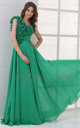 2015 Sexy Green A Line Party Dresses One Shoulder Prom Dresses Handmade Flower Sweep Train MZ045