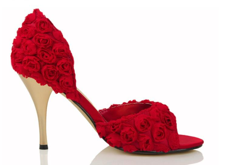 Red Weding Shoes Low Hel 034 - Red Weding Shoes Low Hel