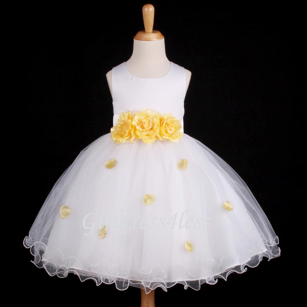 White Yellow Easter Holiday Party Flower Girl Dress Bridal Shoes Cheap Dresse