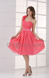 2015 Short A Line Water Melon One Shoulder Bridesmaid Dresses Handmade Flower Party Dresses MZ047