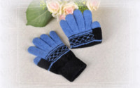 Wholesale Five Fingers Gloves Capacitive Touch Screen Gloves Flocking Rhombus Series Gloves Unisex Mix Order