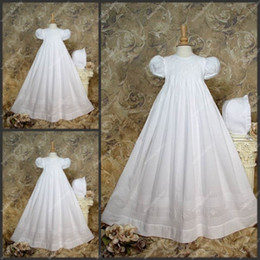 Wholesale White Christening Gowns Floor Length Silk A Lines Short Sleeve Babies First Communion Dresses