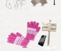 For Capacitive Screens Gloves For Apple iPhone Brand Cell Phone Gloves Capacitive Touch Screen Gloves Flocking Waves Gloves Pink Mix Order DHL Free