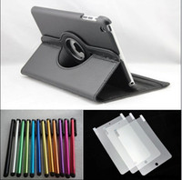 Wholesale AAA quality rotation leather case for ipad mini with screen protector with Stylus pen