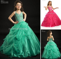 Ankle-Length christmas flower pick - 2015 Christmas Sexy New Halter Organza Beading Pick up Ball Gown Custom Made Flower Girl Dresses PT1403