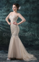 Wholesale 2013 Dhgate Hot Sale V Neck Sexy Long Sleeves Tulle amp Satin Beaded Mermaid Prom Dresses DH00243