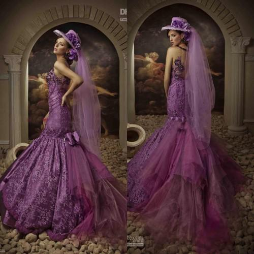 Best Design Purple Mermaid Classic Crystals Court Train Sleeves ...