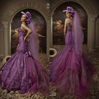 classic wedding dress - Best Design Purple Mermaid Classic Crystals Court Train Sleeves Wedding Dress WDS088