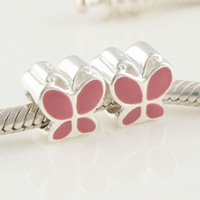 Wholesale Solid sterling silver beads pink butterfly hot enamel bead made of sterling silver loose beads charms DY018A