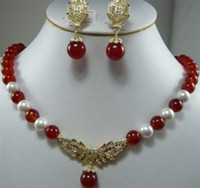 Wholesale Pretty8mm Red Ruby and White Pearl Necklace Earring Set