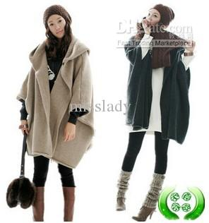 Womens Coats Plus Size Cardigan Poncho Wool Sweater Coats Bat-wing ...