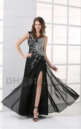 2015 Black and White A Line Chiffon Side Slit Prom Dresses One Shoulder Pleated Evening Gowns HW052