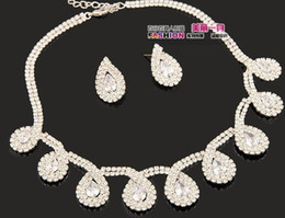 white diamond flower bride set necklace earings free shipping