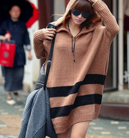 Wholesale Womens sweaters plus size casual ponchos hoodies wool stripe sweaters autumn winter sweater
