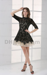 2015 Sexy Mini Black and White A Line Lace Homecoming Dresses Tulle Elbow Cocktail Dresses HW053