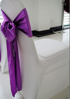 Spandex / Polyester purple chair covers - Lycra chair cover with Purple satin sash spandex chair cover