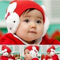Wholesale 10PCS Crochet Hats Rabbit Baby Caps Santa Christmas Children s Gifts Protect Ears Knitting Fedora