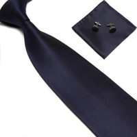 Wholesale necktie neck tie set colors solid color men s ties cufflinks hankies Pocket square