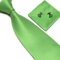 Wholesale fashion necktie neck tie set solid color men s ties tower dress tie cufflinks hankies Pocket square