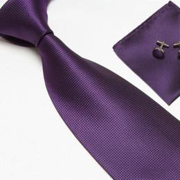Wholesale fashion necktie neck tie set solid color men s ties business tie cufflinks hankies Pocket square
