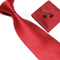 Wholesale necktie neck tie set solid color men s ties tower cufflinks hankies Pocket square