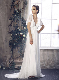 Wholesale Deep V Neck With Empire Waistline Chapel Train Chiffon Ivory In Stock Wedding Dress B12003