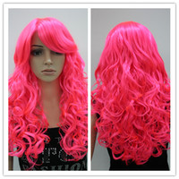 Wholesale Long Curly hair Hot Pink quot Costume Wig