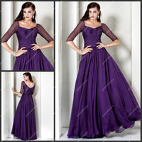 Reference Images Square Chiffon Arabic Style Prom Dress Square Neckline Half Length Sleeve Purple Modest Women's Evening Long Dress