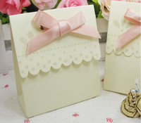 Wholesale 50pcs Party Wedding Favor Boxes Baby Shower Cream Wedding Suppliers Boxes Gift Candy Bags Boxes