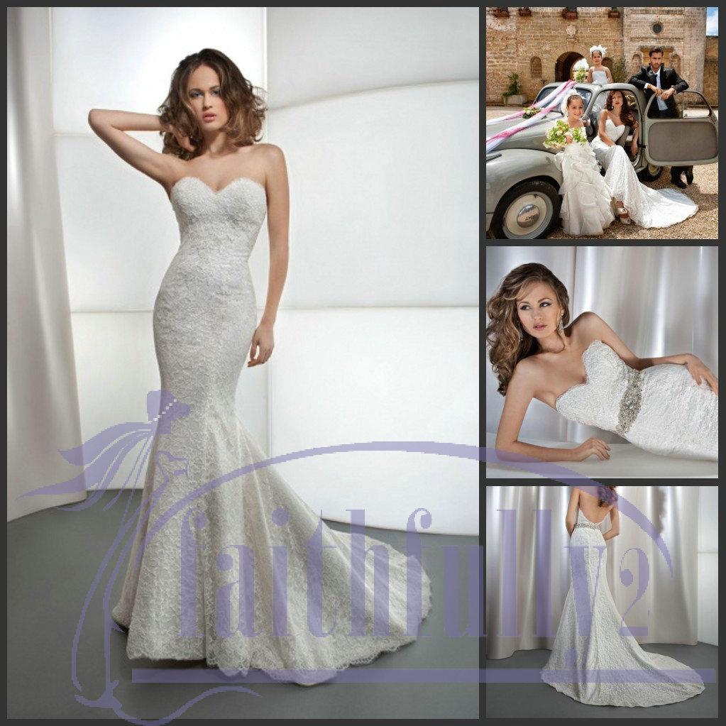 Trumpet wedding dresses with belt : Hot strapless sweetheart lace trumpet wedding dresses