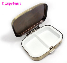 Wholesale 4PCS Bronze Rectangle Metal Pill Boxes Organizer DIY Pill Case Container Compartments Copper Free