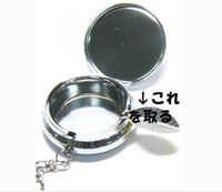 Wholesale 10PCS Portable Ashtray Stainless steel Pill box Silver DIY Metal container with keychain free ship