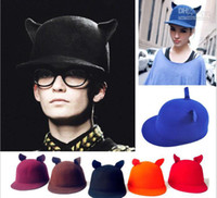 Wholesale new lady s basin hat cat ear hat YMLM winter female cap dance women s caps