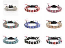 Wholesale 10mm disco Crystal shamballa Clay ball basketball wives spacer beads braid stretched bracelet