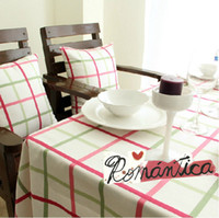 Wholesale Creative European Style Mediterranean Pink Plaid Tablecloths Dinner Tablecloths Size