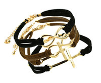 Wholesale Hot sale infinity cross anchor charm bracelet leather bracelets mix faith women s jewelry