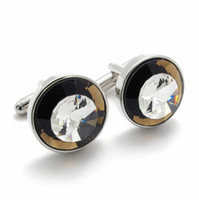 Wholesale novelty jewelry collar tips men formal wear accessories Crystal round cuff links for mens BY74439