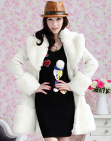 Fashion Winter Coats white large artificial wool collar slim...