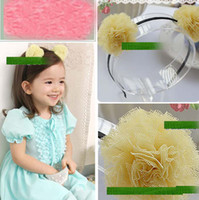 Wholesale New Arrival Fashion Baby Girl s Yarn Double Balls Hair Band Children s Mixed Colors Hair Decoration