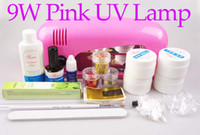 Wholesale Pro Full Set UV Gel Nail Kit Pink Lamp W Flase Acrylic Tips Free Decoration