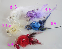 Wholesale Hot sale assorted colors Flower Feather Bead Corsage Hair Clips Fascinator CLRs