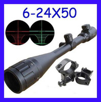 Red Dot & Laser Scope   New Outdoor 6-24x50 AOE Optics Air Rifle Scope Sight Gun Free Rail Mounts Free shipping