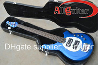 Wholesale 5 strings Bongo music bass blue Electric bass Active controls with v battery