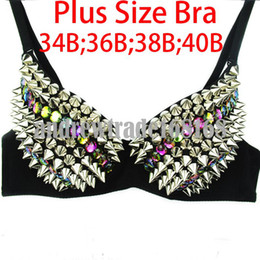 Wholesale Plus sizes Andrew Women Silvery Purple Spike Studded Bra Top Lady Gaga Stage Wear Fancy Party