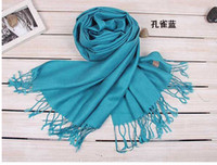 Wholesale Pure color cashmere scarf autumn winter new knitting