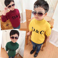 Boy 2-7 year old 5-7-9-11-13  baby long-sleeved letter turtleneck Pullovers sweatshirt cashmere yarn basic shirt knitted sweater